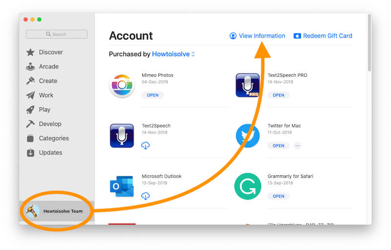 Find the Account information on Mac App Store