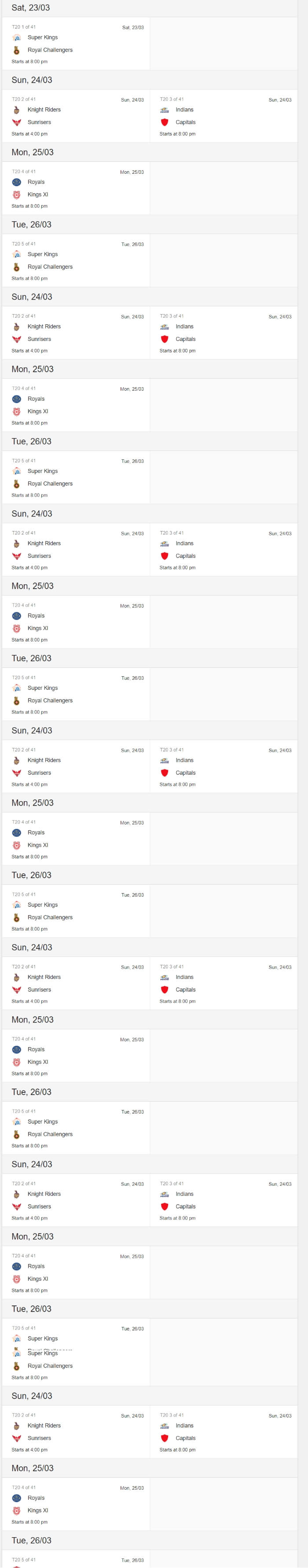 IPL 2019 calendar download
