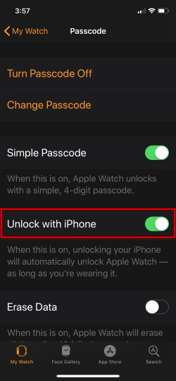 1 Option for unlock with iPhone