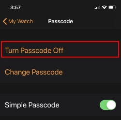 2 Turn off Apple Watch Passcode from iPhone