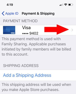 3 Credit card Expired on iPhone update