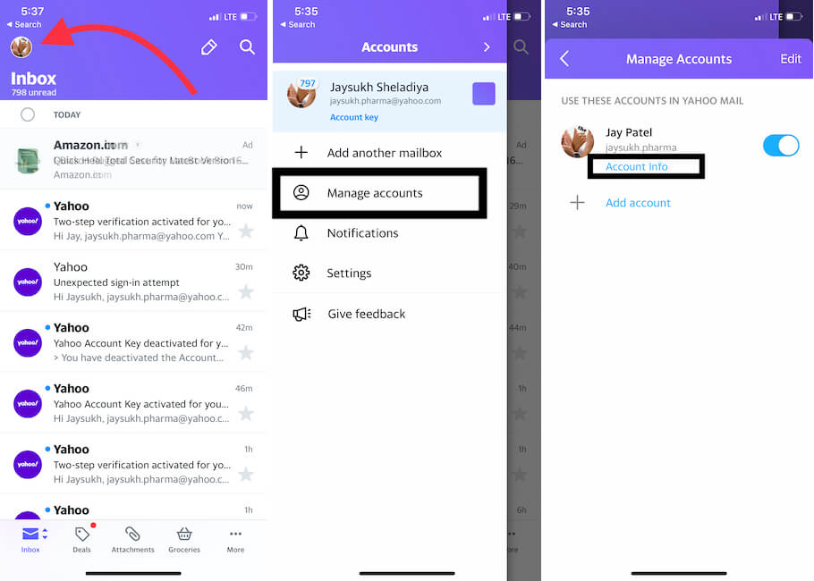 Account info on iPhone Yahoo mail app