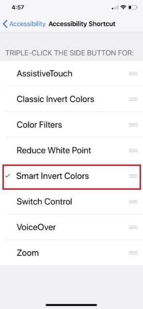 Enable iPhone X Invert Color Shortcut