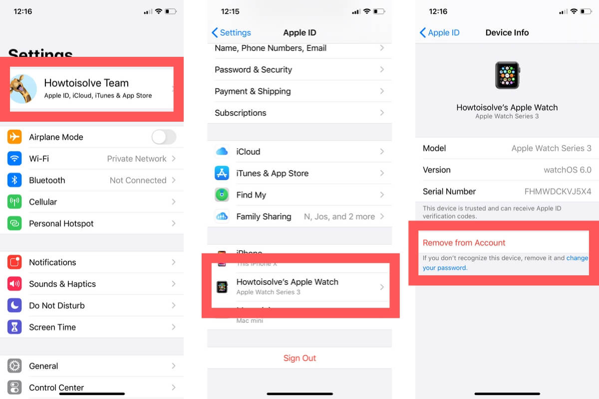 Remove Apple Watch from iCloud on iPhone