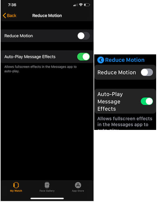 Turn off Reduce motion on Apple watch-2