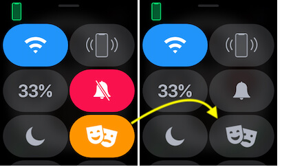 Turn off Theater mode on Apple watch from control center-2