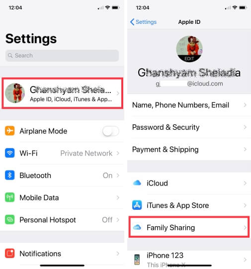 1 Familiy sharing on iPhone in iOS 12