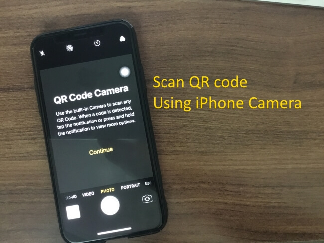 1 Scan QR code using iPhone Camera