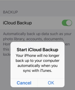 1 Start iCloud Backup on iPhone