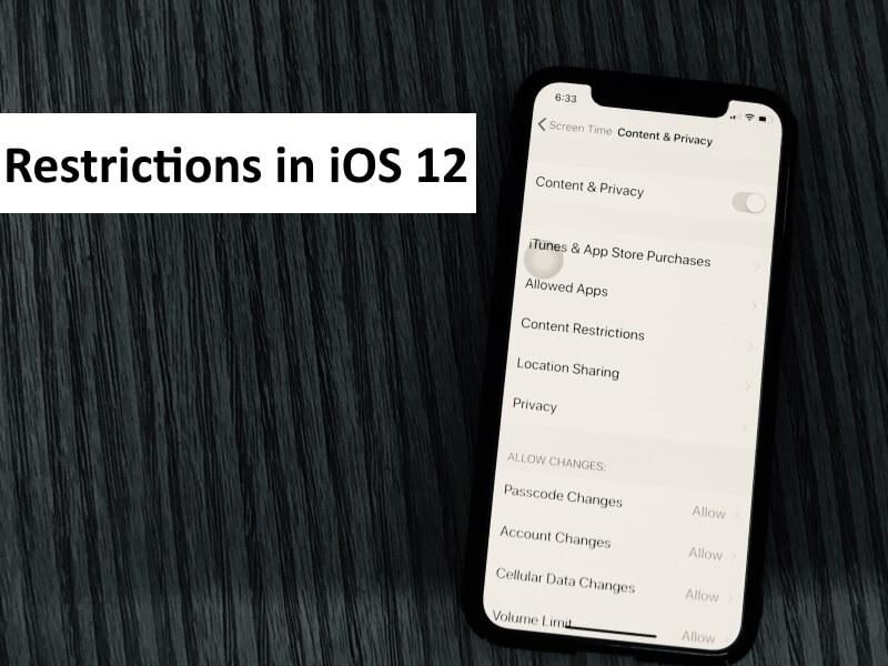 1 Turn on Restriction in iOS 12