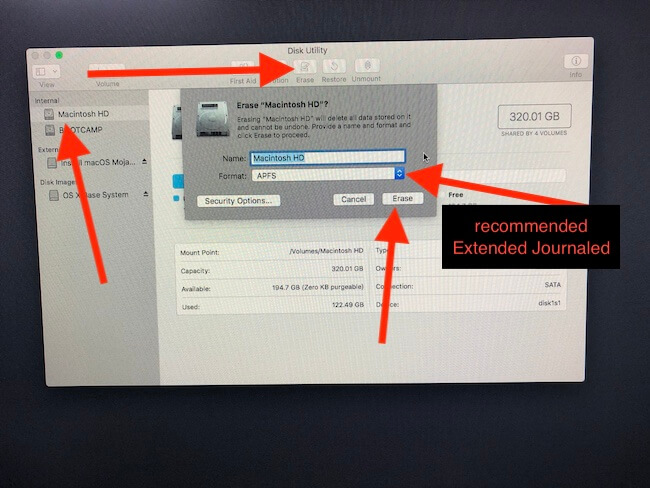 3 Erase Data from Drive to clean install MacOS Mojave