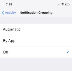 3 Group notification off from iPhone settings