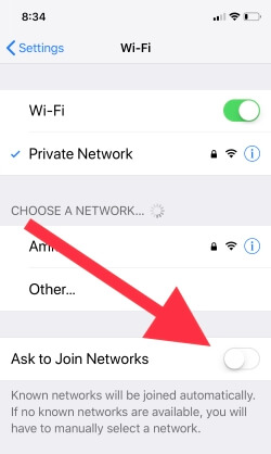 4 Turn off Ask to join Networks on iPhone