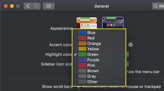 5 Change Highlight color on Mac with MacOS Mojave