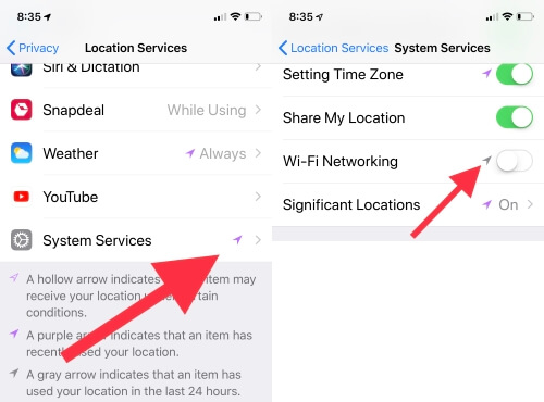 6 Turn off WiFI networking in System Services on iPhone