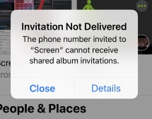 7 Invitation not delivered for Photo sharing
