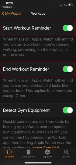 7 Start or End Workout settings on Apple Watch iPhone App