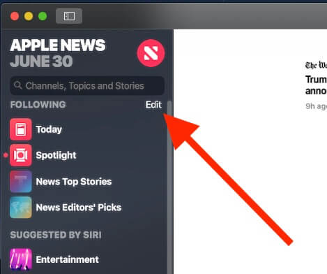 9 Edit news app Sidebar on Mac