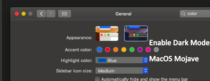 color screen and Dark Mode on macOS Mojave