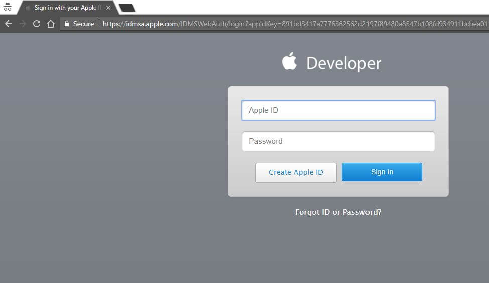 Apple Developer login for download MacOS