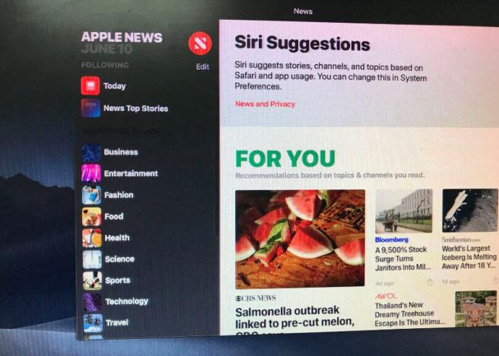 Apple News App on macos mojave