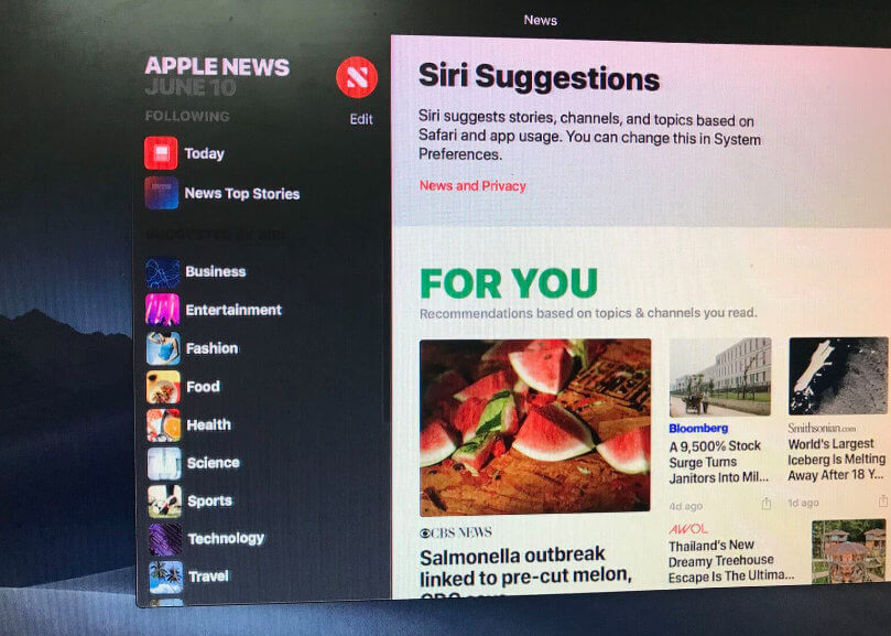 Apple News App on macos mojave