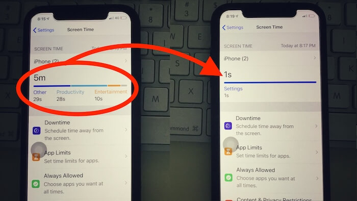 Clear Screen Time data on iPhone copy