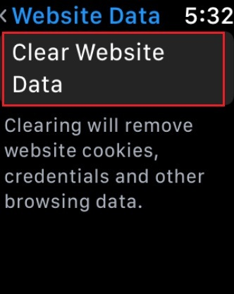 Clear Websites Data on Apple Watch watchOS 5