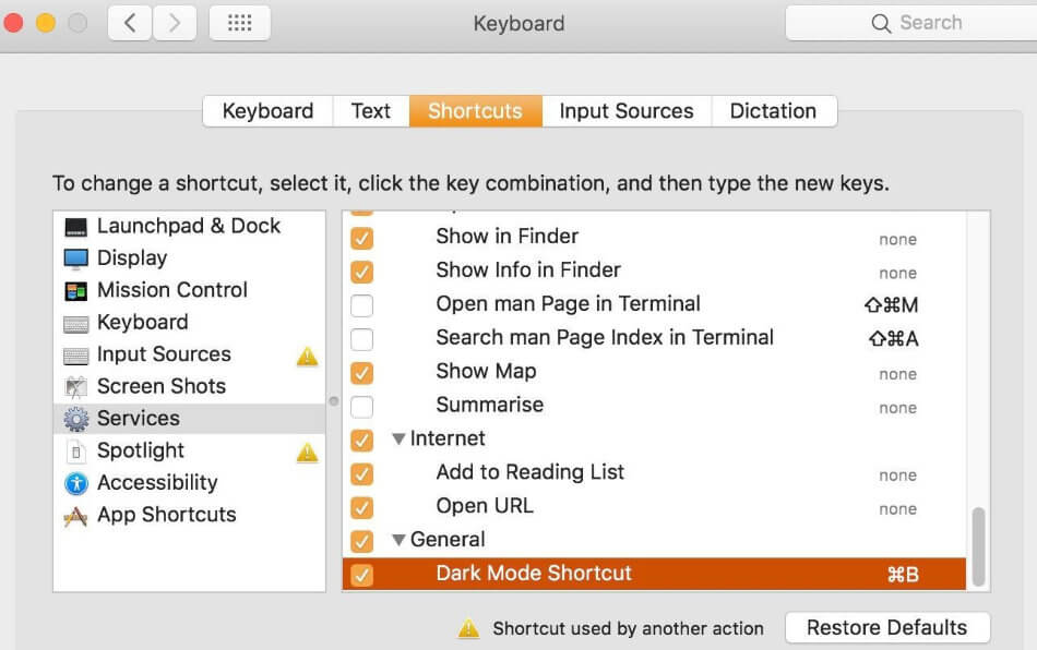 Dark Mode shortcut under services in keybaord system prefrences mac mojave