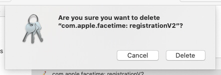 Delete FaceTime Keychain Profile on Mac