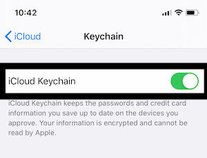 Enable iCloud Keychain toggle for iPhone