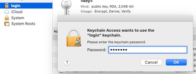 Enter mac password to unlock keychain