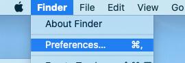 Finder Preferences on Mac