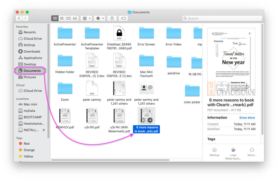 New Watermarked File will save in to Documents folder in finder