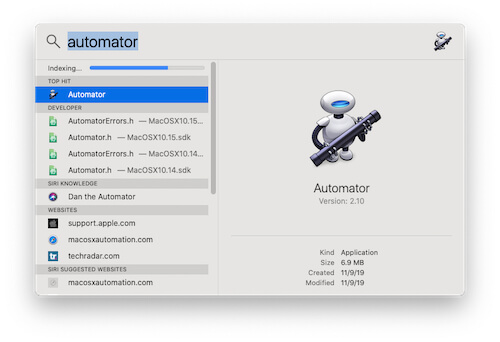 Open Automator On MacBook Mac Using Spotlight Search