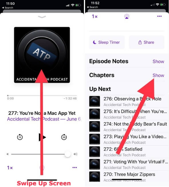 Opne Podcast App to Use Podcast Chapters in iOS 12