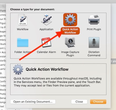 Quick Action Workflow on PDF Shortcut