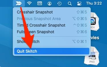 Quite app on Mac from top menu