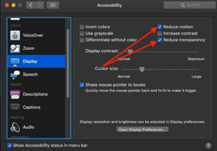 Reduce Motion and Reduce Transparency macOS 10.14 Mojave on macbook air pro
