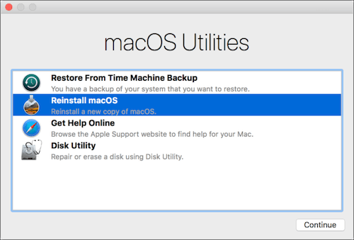 Reinstall MacOS using macOS utilities on Mac