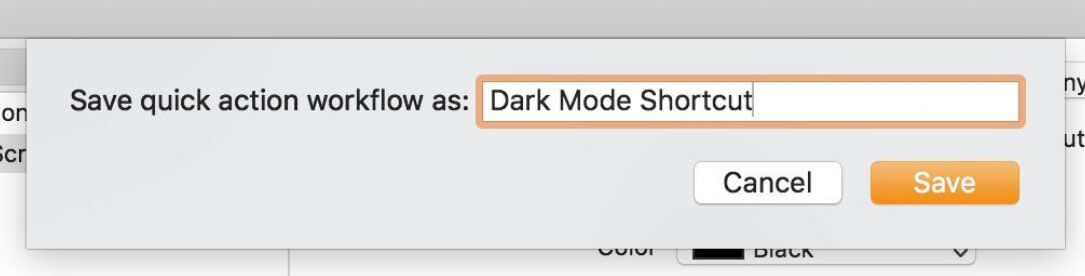Save quick actions workflow as dark mode shortcut to save