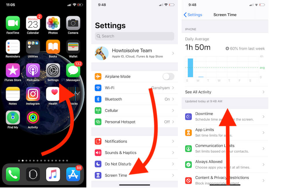Screen time option on iPhone settings app