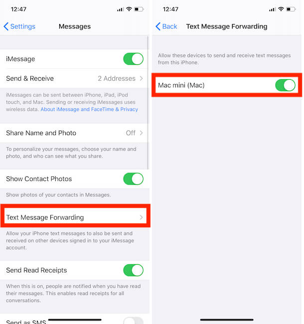 Send and Received Text message from other device that signed in same iMessage account