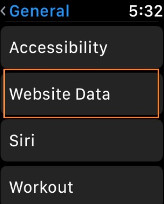 Tap on Websites Data on Apple Watch watchOS 5