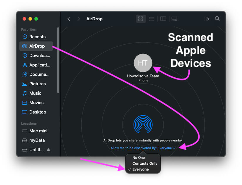 Turn on Airdrop from Finder on MacBook or Mac