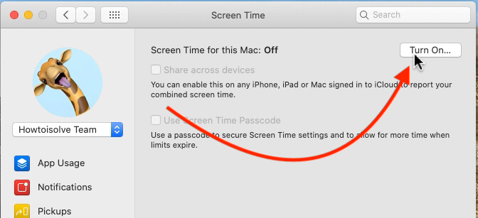 Turn on Screen Time on Mac