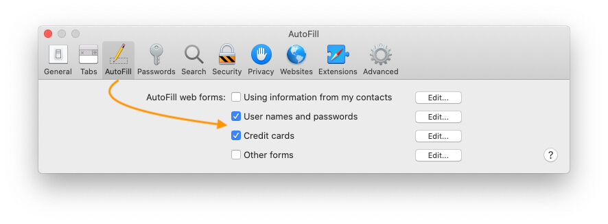 Use Auto fill Web forms for Credit cards and Login details on mac Safari