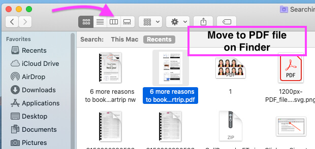 View PDF file in Preview on Finder