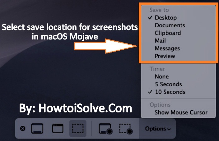 choose or select save location for screenshots in macOS Mojave