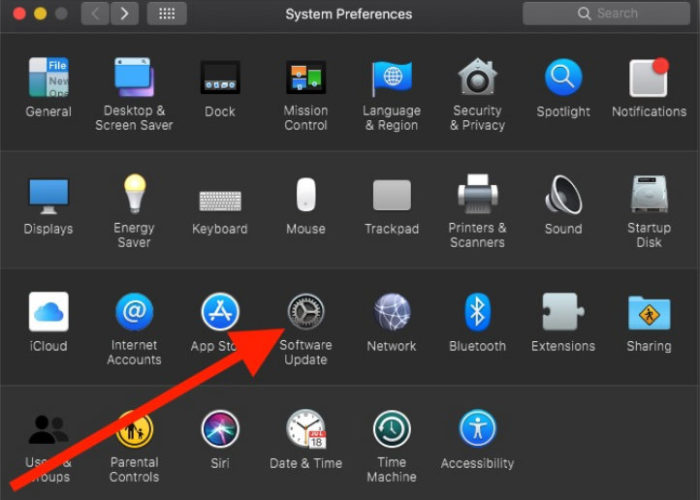 macos mojave system preferences to software update